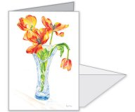 Four Wilted Tulips in Vase